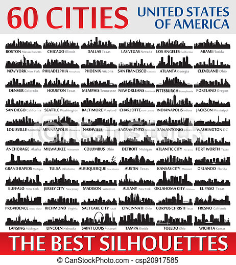Incredible city skyline silhouettes set. United States of Ameri - csp20917585