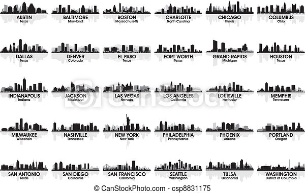 Incredible set of USA city skyline. 30 cities. - csp8831175