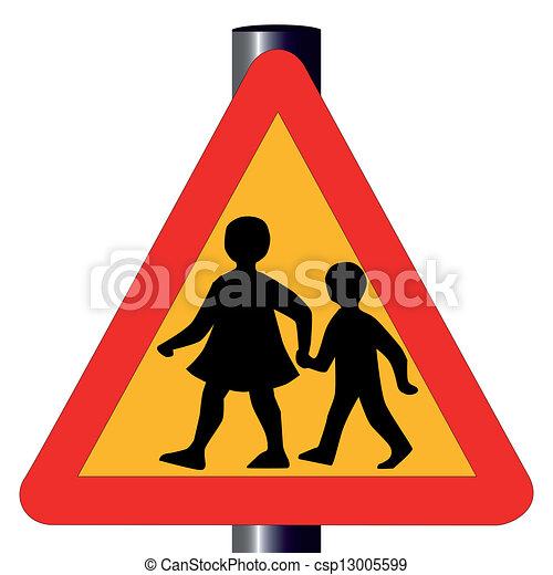 incrocio, traffico, bambini, segno - csp13005599