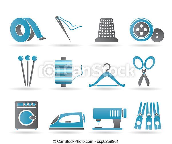 indústria têxtil, objetos, ícones - csp6259961