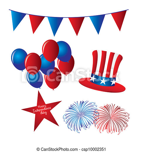 hat with balloons and fireworks independence day elements rh canstockphoto ie  happy independence day free clipart