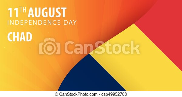 Independence Day Of Chad Flag And Patriotic Banner Vector - Chad flag
