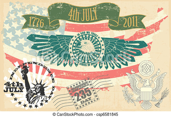 Independence Day of the USA stamp - csp6581845