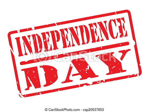 INDEPENDENCE DAY text red stamp on white - csp20537653