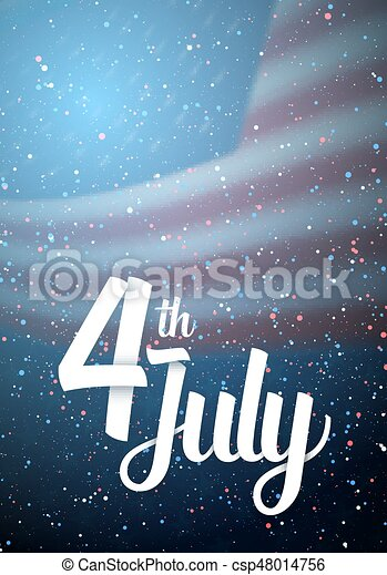 Independence Day Vector Poster. Happy 4th of July USA Flag on Blue Background with Stars and Confetti - csp48014756