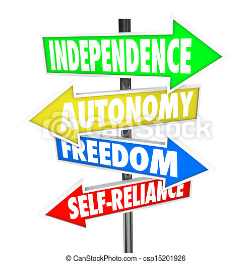 independence road sign arrows autonomy freedom self reliance the