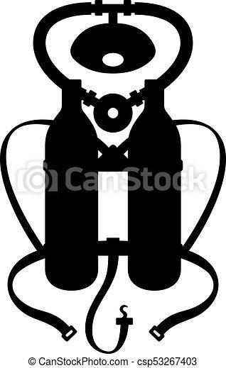 Un aparato para respirar bajo el agua - csp53267403