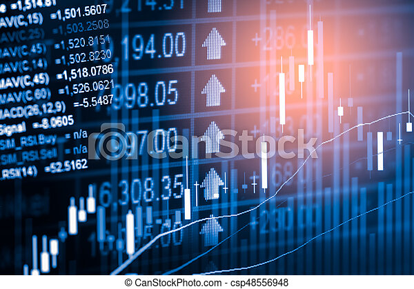 Index graph of stock market financial indicator analysis on LED  Abstract  stock market data trade concept  Stock market financial data trade graph