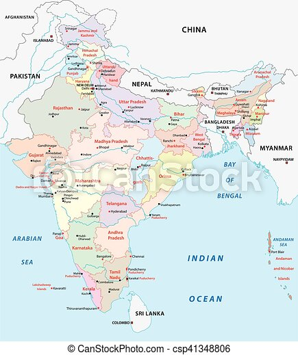 India administrative map India administrative and political