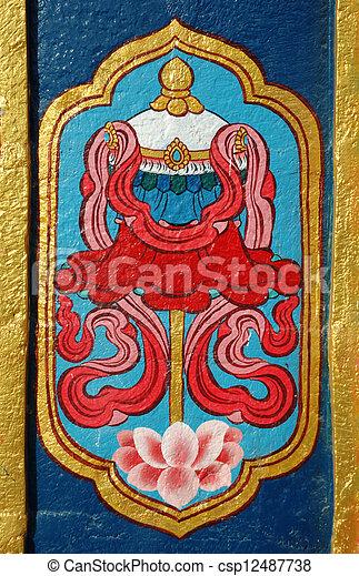 Detalle del monasterio budista, la India - csp12487738