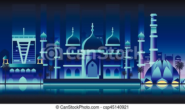 India city night neon style architecture buildings town country travel - csp45140921