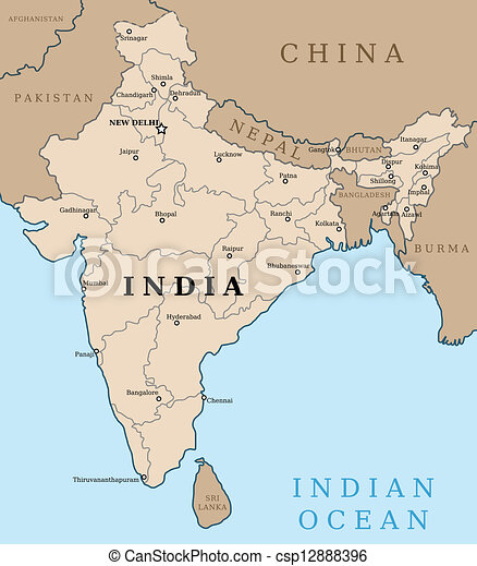 Map of india. outline illustration country map with major cities (state ...