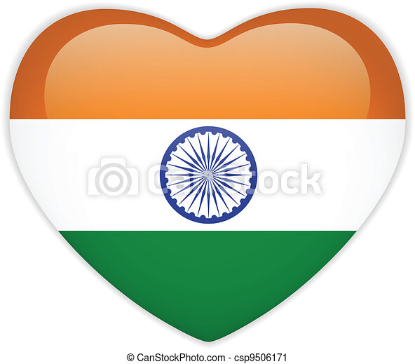 India Flag Heart Glossy Button - csp9506171