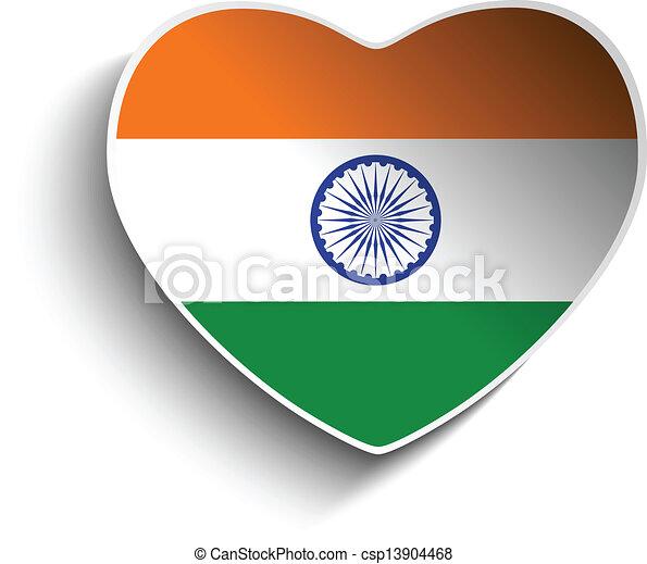 India flag heart paper sticker csp13904468