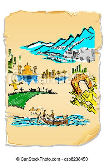 india in postcard illustration of drawing of indian taj mahal clipart Egyptian Pyramid Clip Art