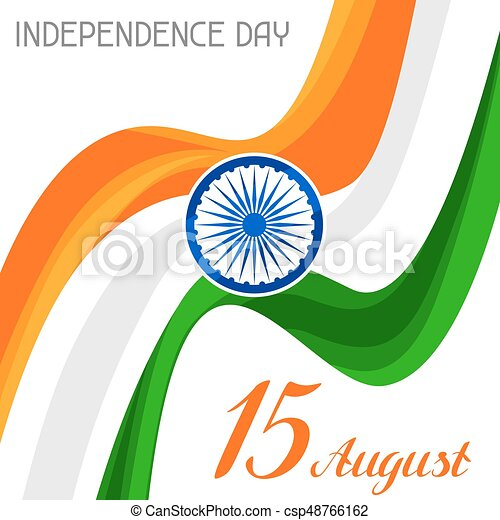 India Independence Day greeting card. Celebration 15 th of August - csp48766162