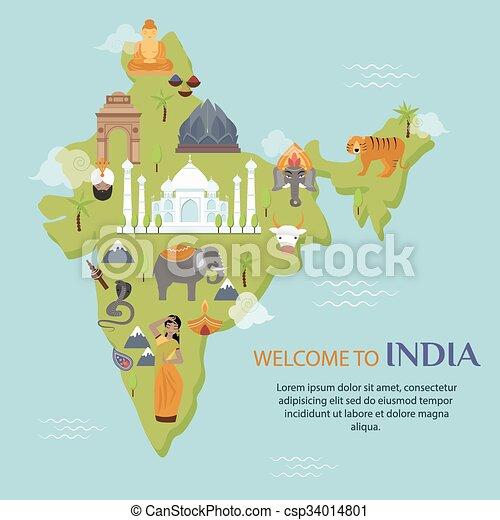 India Landmark Travel Map Vector Illustration