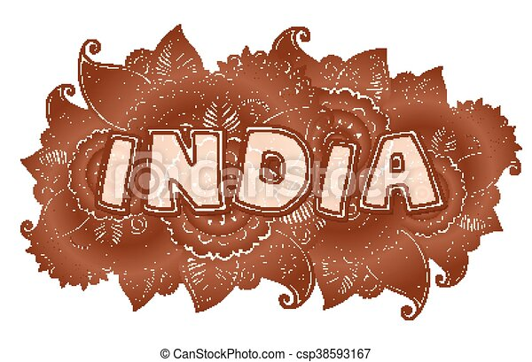 Henna Mehndi Vector : Vector india lettering on henna colors mehndi floral clip art
