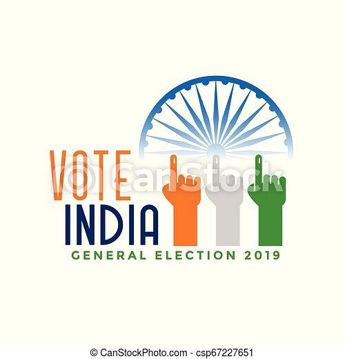 Vota a las elecciones generales de la India con la mano - csp67227651