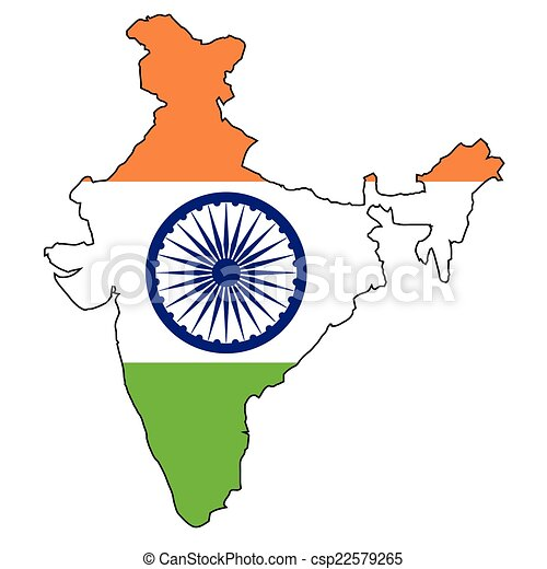 India Map Flag Outline Map Of India Over A Map And White Background
