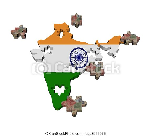 India Map Flag.India Map Flag Jigsaw With Rupees Pieces Illustration
