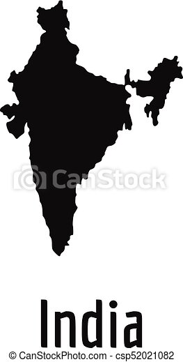 India Map In Black Vector Simple