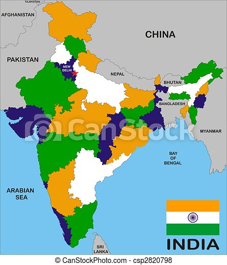 India map with states and boundary and flag.