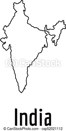 India Map Thin Line Vector Simple