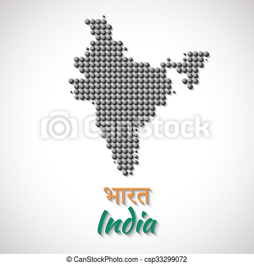 India Map vector black color dotted design