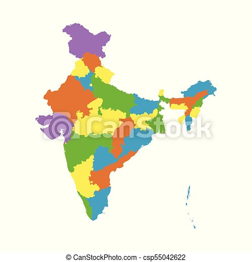 India map with federal states. flat vector.