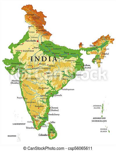 India Fisica Cartina.India Mappa Sollievo Fisico Cities Dettagliato Forme India Regioni Sollievo Grande Mappa Altamente Tutto Canstock
