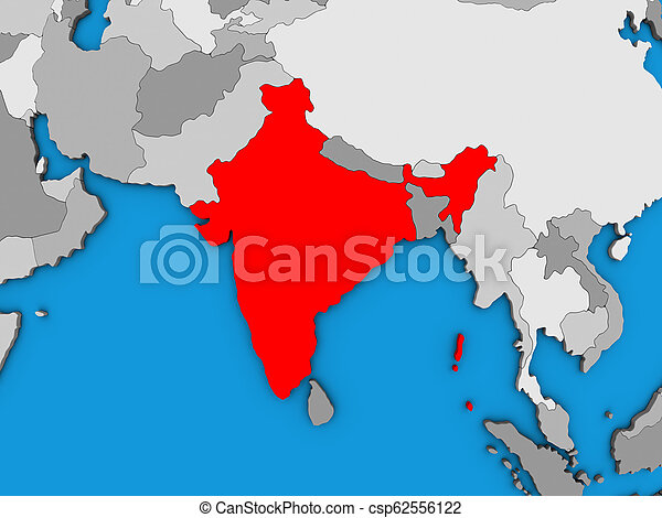 India on 3D map - csp62556122