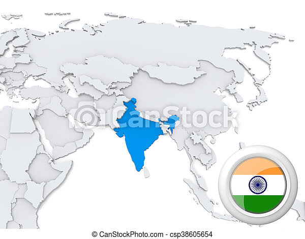 India on map of Asia - csp38605654