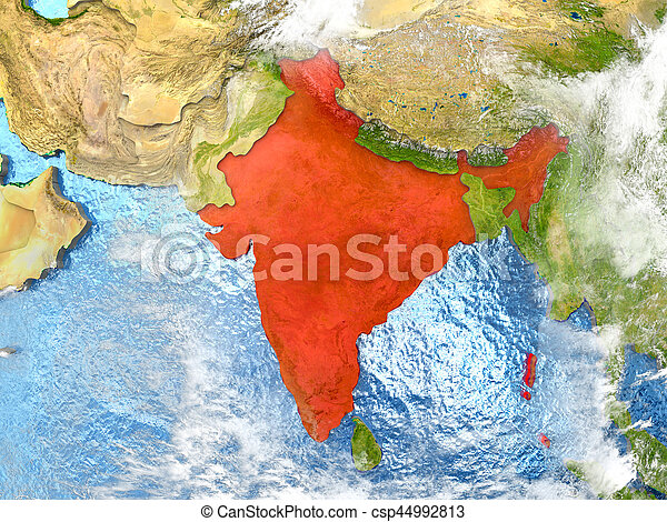 India on map with clouds - csp44992813