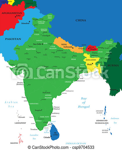 India political map Highly detailed map of india vectors Search