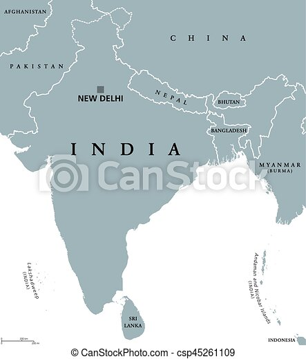 India political map with capital new delhi national borders