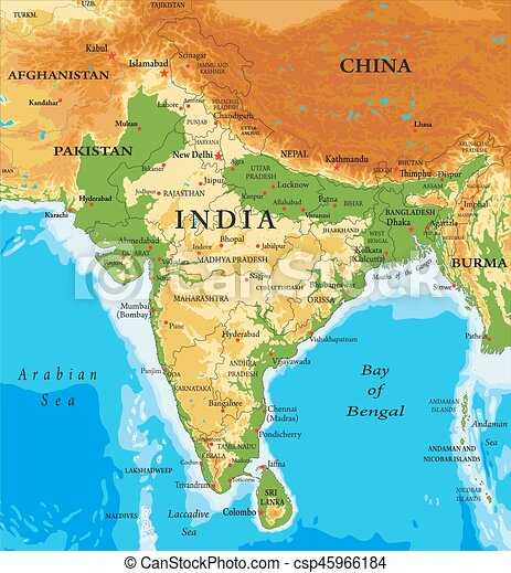 Indiarelief map Highly detailed physical map of indiain vector