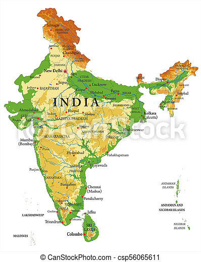 India relief map highly detailed physical map of india with all the india relief map csp56065611 altavistaventures Gallery