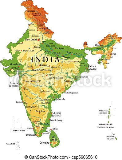 India relief map Highly detailed physical map of indiain vector