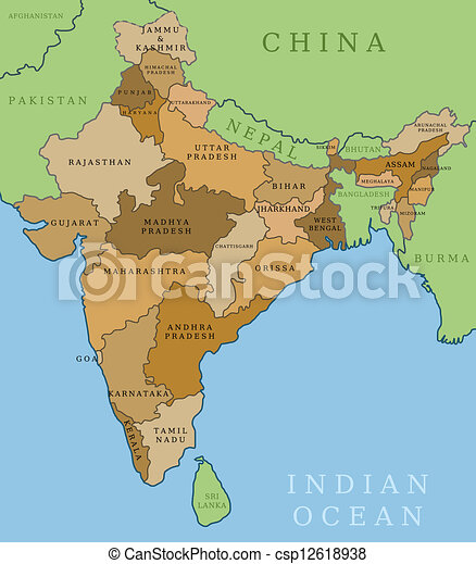 India states. India map. outline illustration country map with state ...