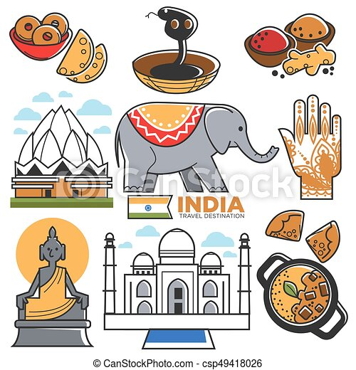India Tourism Travel And Indian Culture Attractions Vector Symbols