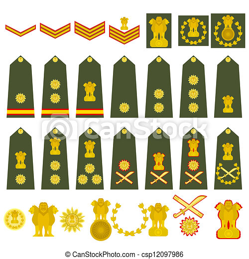 Indian Army Insignia Epaulets Military Ranks And