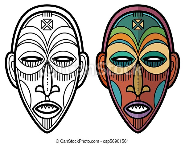 indian aztec african mexican historic tribal mask coloring page