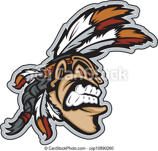Indian Brave Mascot Head Vector Cartoon Cartoon Indian Brave Native