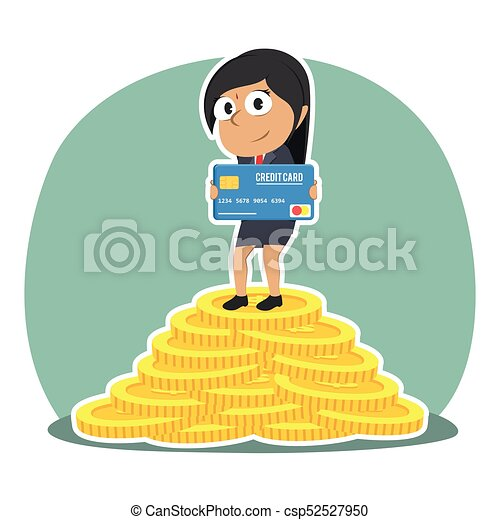 Indian businesswoman holding credit card on pile of coins indian businesswoman holding credit card on pile of coins csp52527950 reheart Images