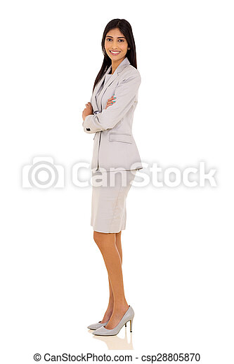 indian businesswoman with arms folded - csp28805870