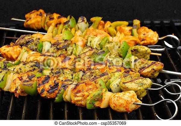 Indian Chicken Tikka Kebabs   Csp35357069