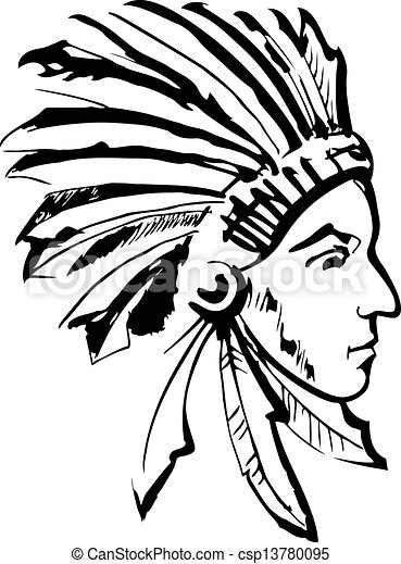 Indian chief black and white csp13780095