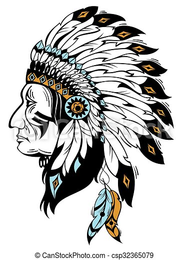 vector illustration with indian chief vectors illustration search rh canstockphoto com native american indian chief clipart indian chief cartoon clipart