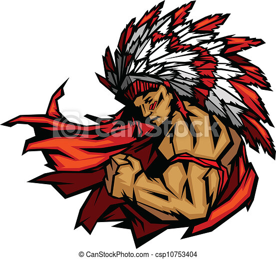 Indian Chief Mascot Flexing Arm Vector Graphic - csp10753404